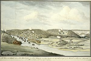 Fort Washington (Manhattan) - A View of the Attack against Fort Washington and Rebel Redouts near New York on the 16 of November 1776 by the British and Hessian Brigades Watercolor by Thomas Davies