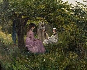 Tre damer i en have
