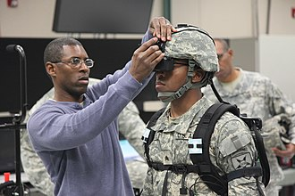 Virtual reality headset - A U.S. soldier training using a virtual reality headset in 2013