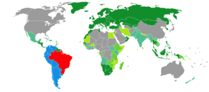 Brazilian nationality law - Image: Visa requirements for Brazilian citizens