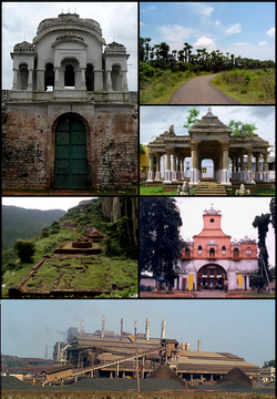 Clockwise from Top Left: Vizianagaram fort, Rural Road at Alamanda, Mandapam at Bobbili Fort, Korukonda Sainik school, FACOR plant at Garividi, Gurubhaktulakonda Monastic ruins at Ramatheertham