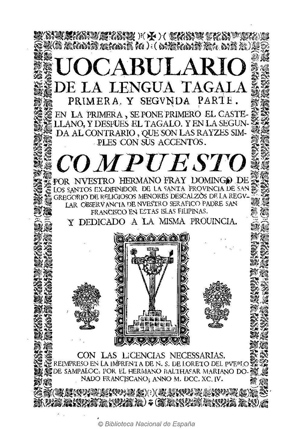 Vocabulario de la lengua tagala 1794