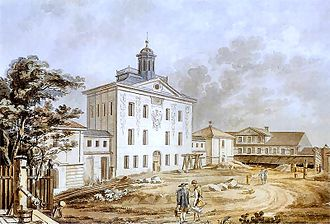 Enlightenment in Poland - Załuski Library, the first public library in Poland, under construction. 1801 watercolor by Zygmunt Vogel. National Museum, Warsaw