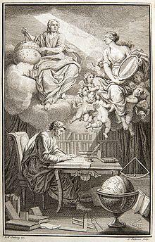 Προμετωπίδα του έργου Éléments de la philosophie de Newton(Άμστερνταμ, 1738), όπου εμφανίζεται ο Βολταίρος στο γραφείο του να δέχεται το φως της αλήθειας από το Νεύτωνα διά μέσου ενός καθρέφτη, που κρατά η Madame du Châtelet