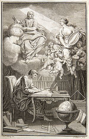Passionate Minds - In the frontispiece to their translation of Newton, du Châtelet is depicted as the muse of Voltaire, reflecting Newton's heavenly insights down to Voltaire.