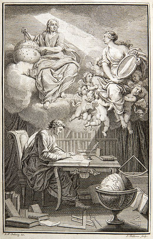 In the frontispiece to Voltaire's book on Newton's philosophy, Emilie du Chatelet appears as Voltaire's muse, reflecting Newton's heavenly insights down to Voltaire. Voltaire Philosophy of Newton frontispiece.jpg