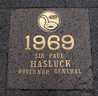 Paul Hasluck - St Georges Terrace, Perth bronze tablet