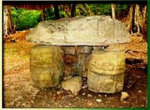 El Perú (Maya site) -  Carved altar from El Perú (Waka') in Guatemala.