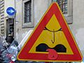 Warning sign pulling a face, by Clet Abraham.jpg