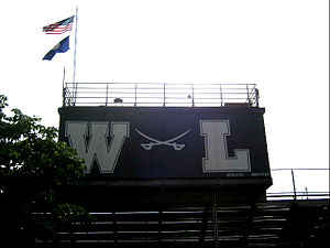 Washington-Lee High School - Crossed sabres logo above the bleachers at Washington-Lee, 2011