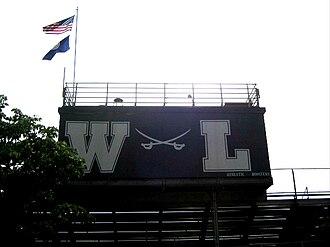 Washington-Lee High School - Crossed sabres logo above the bleachers at Washington-Lee, 2011