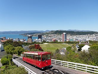 Kelburn, New Zealand - View of Wellington Cable Car, Kelburn Park sports field and central business district, from the Botanic Garden