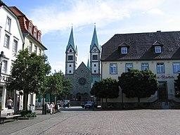 Market square with Wallfahrtsbasilika, Werl, North Rhine-Westphalia, Germany. Picture taken by Christian Koehn (fragwürdig) Date: August 24, 2005.