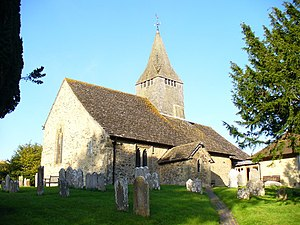 St Mary's Church, West Chiltington - The church has a chancel, nave and spire.