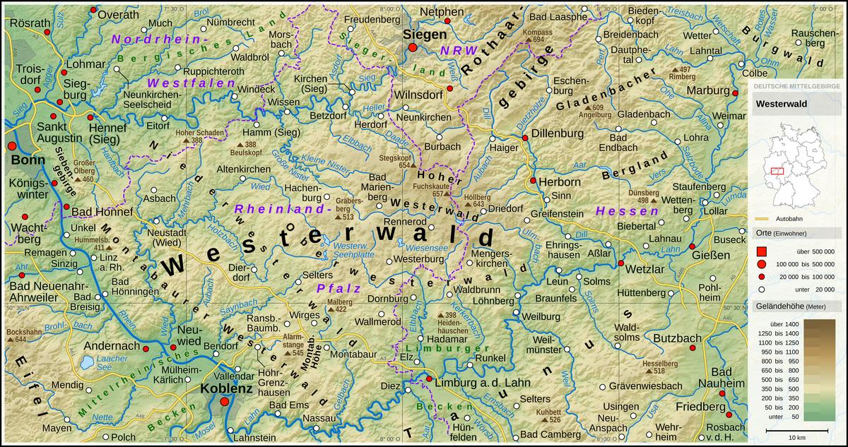 westerwald karte Westerwald – Wikipedia westerwald karte