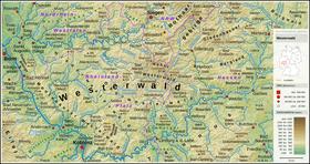 Carte topographique du Westerwald.