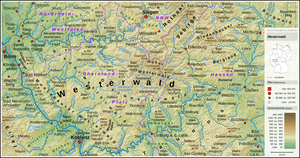 Overview map of the Westerwald