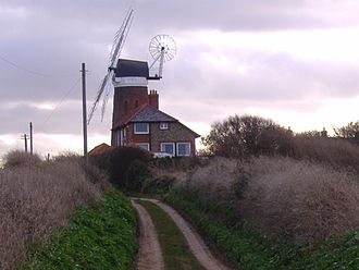 Weybourne, Norfolk - Weybourne Windmill from the lane that leads to the sea and coastguard cottages