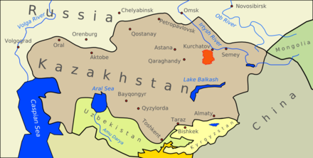 The 6,900-square-mile (18,000 km) expanse of the Semipalatinsk Test Site (indicated in red), attached to Kurchatov (along the Irtysh river). The site comprised an area the size of Wales. Wfm sts overview.png