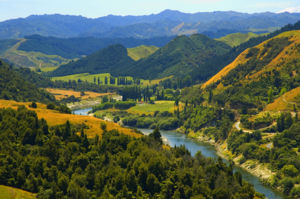 Whanganui River - The Whanganui River. Mount Ruapehu can partly be seen at the top right of the scene.