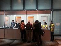 Wikimania 2015-Wednesday-Registration desk (1).jpg