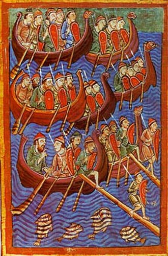 Norsemen - Sea-faring Danes depicted invading England. Illuminated illustration from the 12th century Miscellany on the Life of St. Edmund (Pierpont Morgan Library)