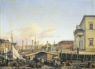 Højbro - Højbro in 1839 with women selling fish at Gammel Strand, painting by Wilhelm Petersen