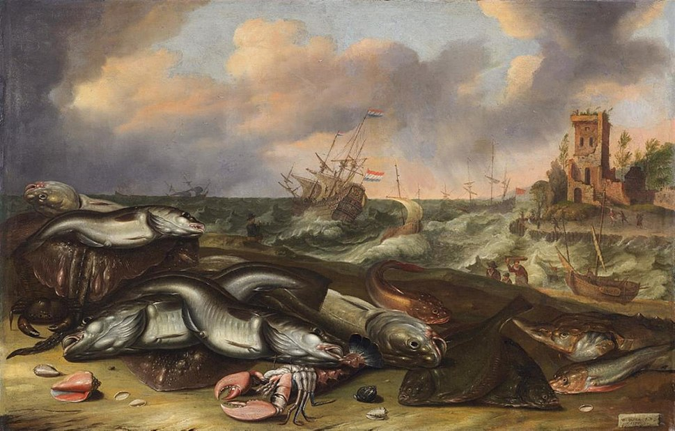 Willem Ormea & Abraham Willaerts - Vis Stilleven met stormachtige zeeën