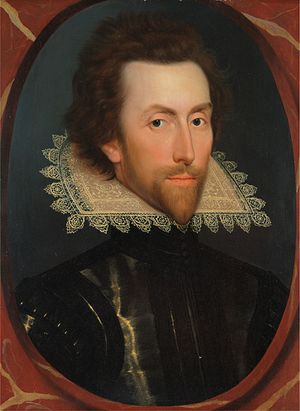 Piccadill - Portrait of English nobleman Grey Brydges wearing a piccadill, painted around 1615