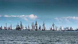 Windjammer - Windjammer Parade at Kiel Week in Germany, the world's biggest regatta and sailing event
