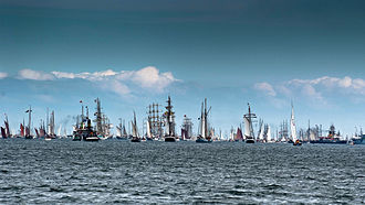 Regatta - Windjammer Parade at Kiel Week in Germany, the world's biggest regatta and sailing event
