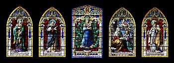 The figured windows of the Cathedral Santa Ana...