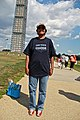 Woman Obama supporter in blue t-shirt by the Washington Monument - 50th Anniversary of the March on Washington for Jobs and Freedom.jpg