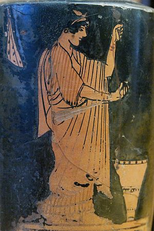 "Oikos - A woman spinning.  Image on an Attic red-figure lekythos, c.480-470 BCE.  Now in the ""Antonio Salinas"" Regional Archaeological Museum of Palermo."