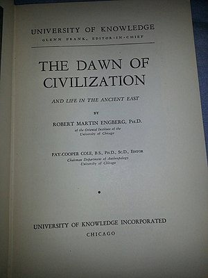"""Wonder Books - The title page of the """"Dawn of Civilization"""" book in the Wonder Book series published by The University of Knowledge."""