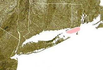 Block Island Sound - Block Island Sound, shown shaded in red, between the coast of the Rhode Island and Block Island.