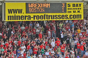 Wrexham A.F.C. - 5 May 2007: Scoreboard showing the final score of game that kept Wrexham in the Football League and condemned Boston United to the Conference