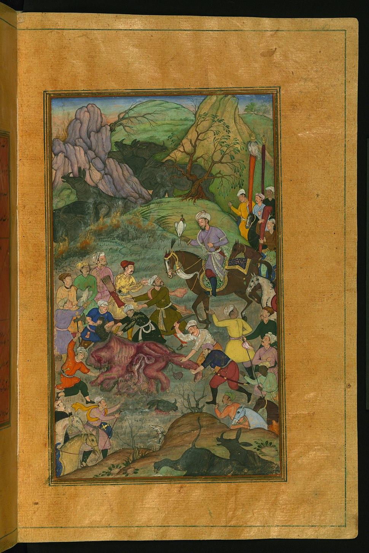 Zahir al-Din Muhammad Babur - Babur and his Party Hunting for Rhinoceros in Swati - Walters W59621B - Full Page