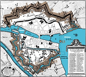 Fortifications of Zürich - 1705 map of Zurich (north is left), with fortifications coloured in grey