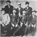 """Dodge City (Kans.) Peace Commissioners. L to R, Chas. Bassett, W. H. Harris, Wyatt Earp, Luke Short, L. McLean, Bat Mas - NARA - 530990.tif"