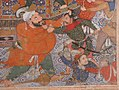 """Hamza's Heroes Fight in Support of Qasim and Badi'uzzaman"", Folio from a Hamzanama (The Adventures of Hamza) MET sf18-44-2b.jpg"