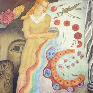 "City College of San Francisco - ""Theory and Science"" mural located at San Francisco City College (CCSF) up close detail, two 12′ x 8′ tempera frescos painted by Frederick E. Olmsted Jr. in 1941 and restored in 2002, New Deal Agencies: Federal Art Project (FAP)"
