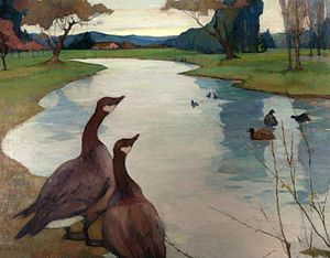 Mills College Art Museum - Image: 'Decoration Wild Geese' by Rowena Meeks Abdy
