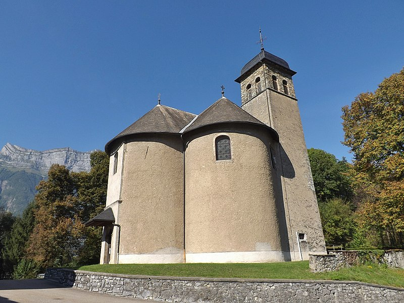 Sight of the église Saint-Maurice church, on the French commune of Chamousset, in Savoie, France.