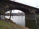 Štvanice, Negrelliho viadukt, průhled na severní předmostí Hlávkova mostu.jpg
