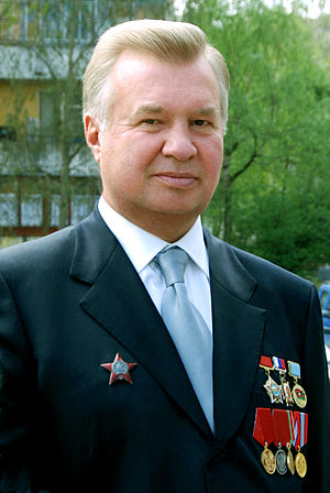 Afghanistan veteran Igor Vladimirovich Vysotsky wearing his Order of the Red Star and other awards on civilian attire Vysotskii I.V..jpg