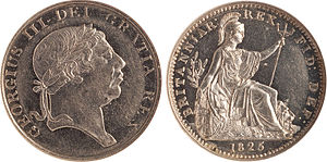 Platinum coin - Experimental mule sample manufactured in the United Kingdom. The obverse is the 1812 Pattern 9 Pence Bank Token (S3773A), and reverse is the farthing of 1825. George III had died in 1820 and had been succeeded by his son (George IV) whose farthing reverse design is shown (right).