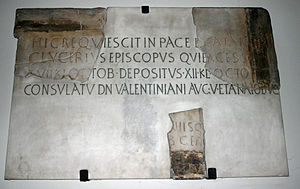 Glycerius (bishop of Milan) - Epigraph for Glycerius, reconstructed from the fragments of the original stone, in the left-hand transept of Church of Saint Nazarius.