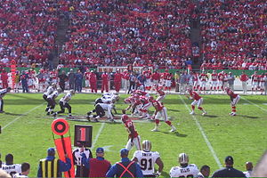 Pistol offense - The Kansas City Chiefs (right) line up in a pistol formation against the New Orleans Saints (left)