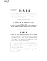 116th United States Congress H. R. 0000116 (1st session) - Investing in Main Street Act of 2019 A - Introduced in House.pdf